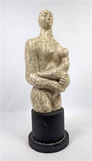 Modernist Plaster Sculpture. Mother and Child.