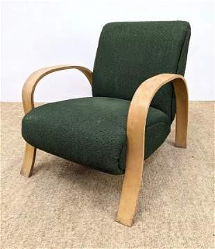 Alvar Aalto style Blond Arm Lounge chair. Green Fabric.