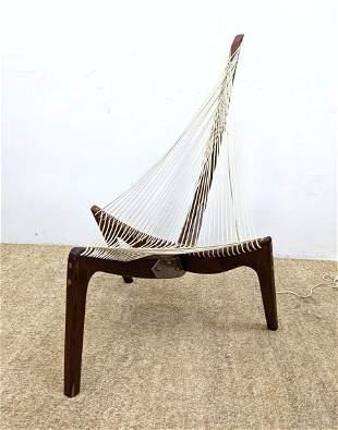 JORGEN HOVELSKOV Modernist Teak Harp Chair. Sculptural,