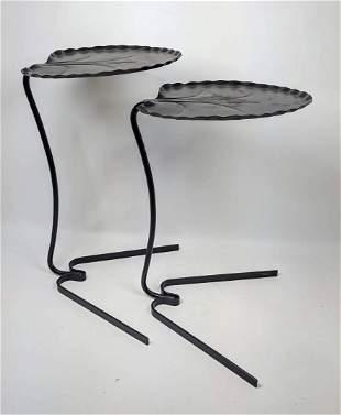 Pr SALTERINI Leaf Iron Nesting Tables. Painted Black. O