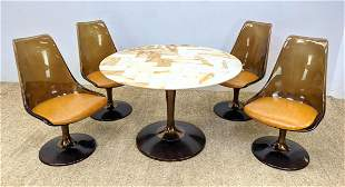 Space Age Modernist Dining Set. Onyx marble top table a