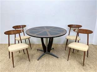 Mid Century Modern Dinette Set. Table and 4 Chairs. Pi