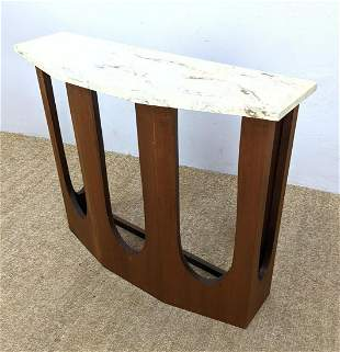 American Modern Walnut and Marble Console Wall Table. B
