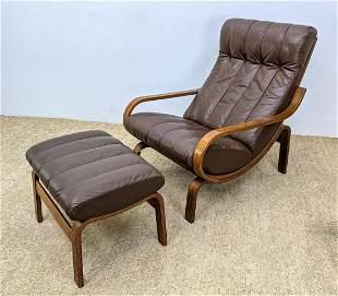 WESTNOFA Lounge Chair and Ottoman. Bent wood frame adju