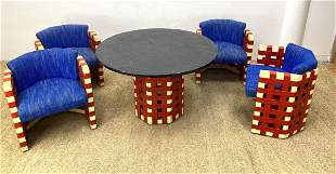 De Stijl Style Dining Set. 5pc Red, Cream and Blue Dini