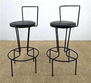 Pr Frederick Weinberg style Iron Bar Stools. Modernist