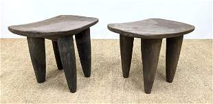 Pr Tribal Carved Wood Senufo Benches Stools. Thick cone