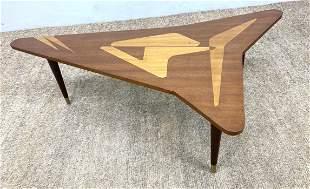 Swedish Modern Style Coffee Table. Arrowhead shaped Inl