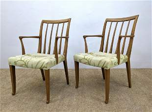 Pr Slat Back Lounge Arm Dining Chairs. Floral fabric se