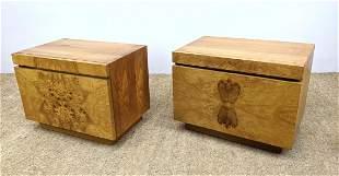 Pair LANE Burl Wood Side Table Night Stands. Milo Baugh