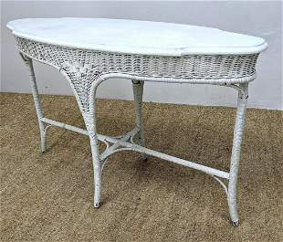 Vintage Painted White Wicker Table. Shaped Top.