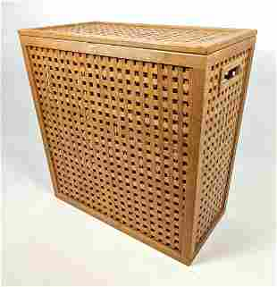 Wood Lattice Work Lidded Hamper. Modernist Teak.
