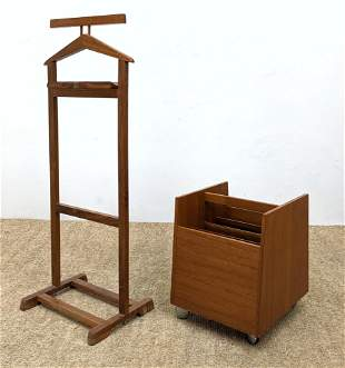 2pc Modern Wood Pieces. Skovby style Rolling teak magaz