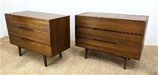 Pr American Walnut Bachelor's Chests. Raised on Tapered