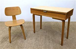 THONET Writing Desk and Chair. Laminate top.