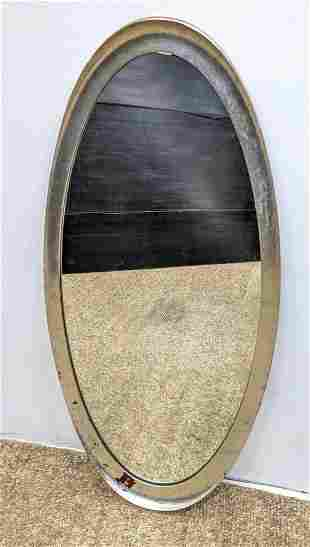 Silver Gilt Oval Mirror with shaped frame.