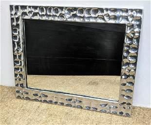 Brutalist Aluminum Frame Wall Mirror.