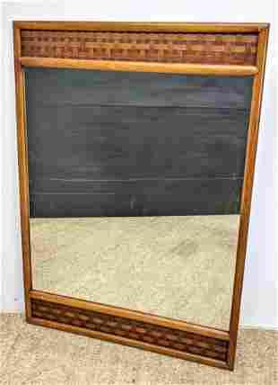 American Modern Walnut Wall Mirror. Lattice top.