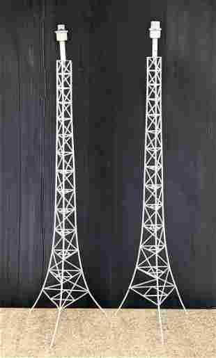 Pair Painted white Eiffel Tower Floor Lamps.