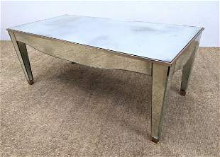Decorator Mirrored Coffee Cocktail Table. Antiqued silv