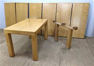 """Heavy Modernist Extension Dining Table. Six 21"""" leaves."""