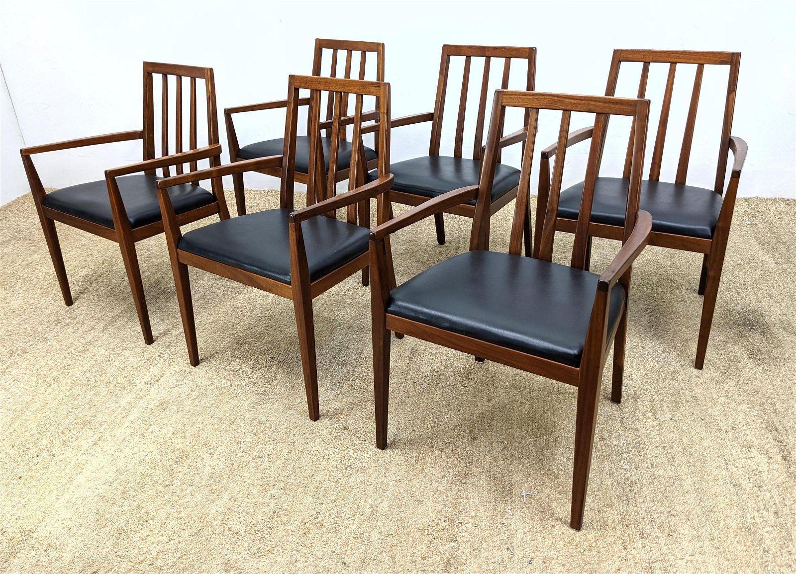 Set 6 American Modern Walnut Dining Chairs.