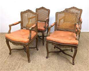 Set 4 Carved French Style Dining Arm Chairs. Caned sea