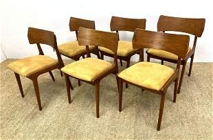 Set 6 Danish Modern Teak Dining Chairs. Shaped backs.