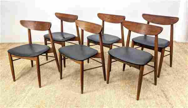 Set 6 American Modern Walnut Dining Chairs. Crescent mo