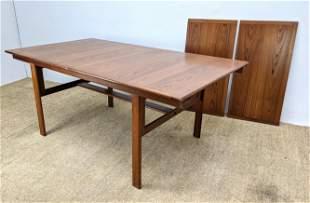 L JACOBSEN Modern Teak Banded Dining Table. Two 19.75 i