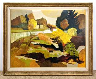 DOLLE Signed Abstract Landscape Painting. Autumnal Pale