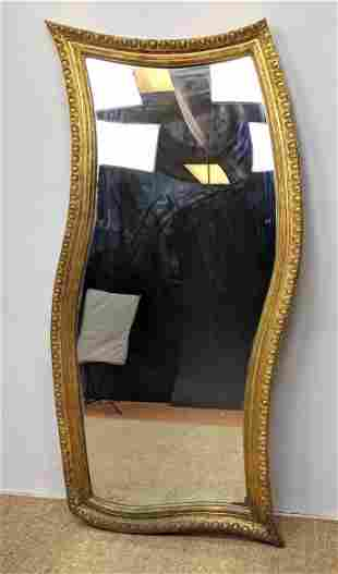 Large Gold Gilt Mirror. Wave shaped frame. Can be hun