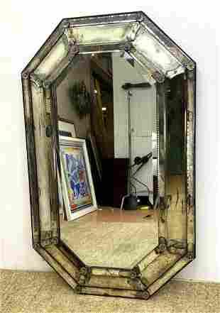 Octagonal Venetian style Frame Wall Mirror. Antiqued Mi