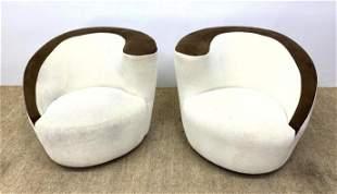 Pr Vladimir Kagan style Lounge Chairs. Swivel Modernist