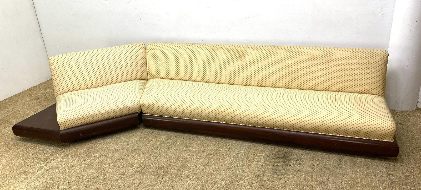 Adrian Pearsall style sectional sofa two pieces. Wood p