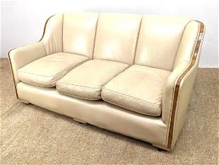 French Art Deco Leather Sofa Couch. Wood details.