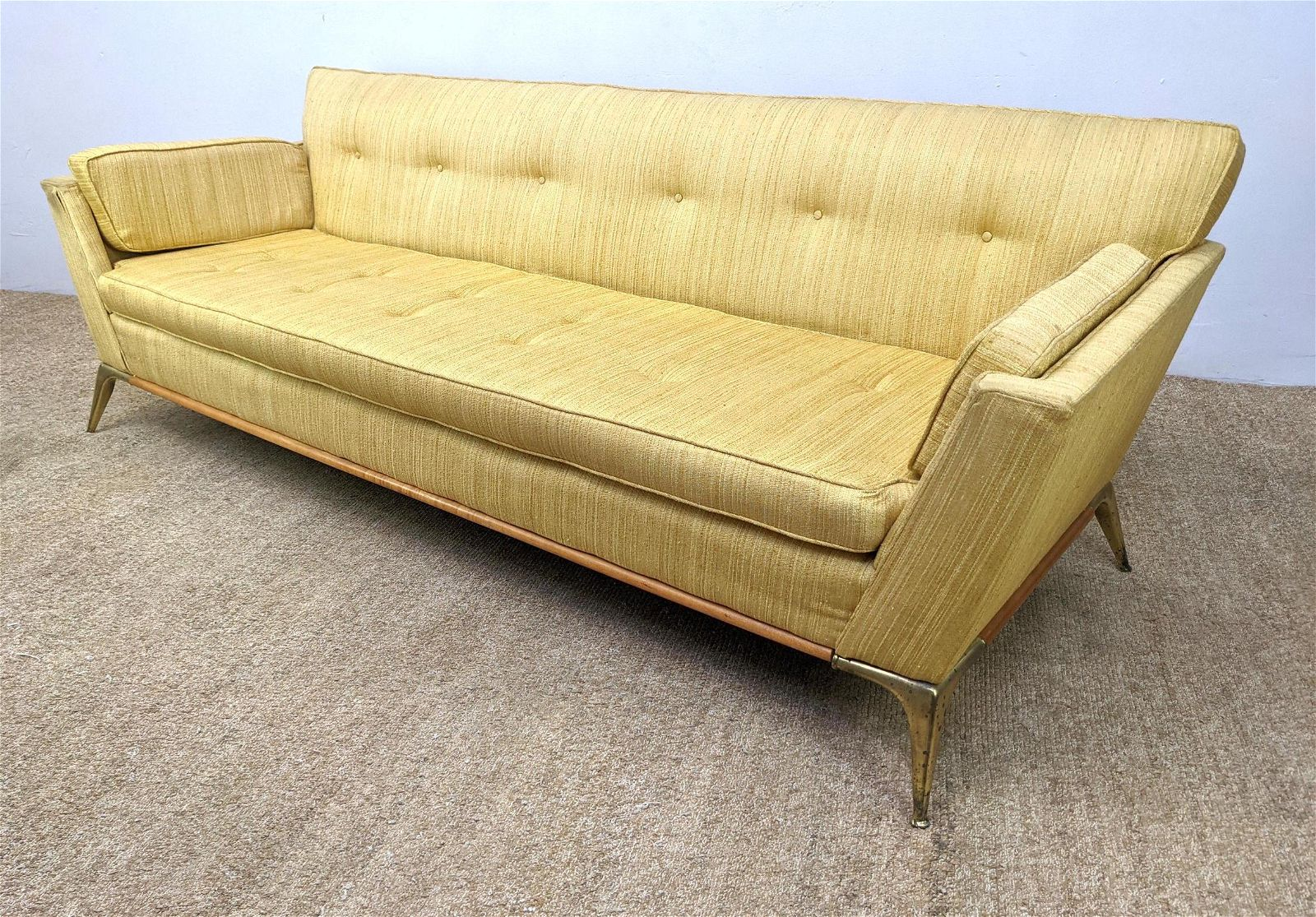 Mid Century Modern Sofa Couch with Flared Metal Legs.