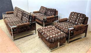 4pcs Baughman Style Living Room Set. Sofa, loveseat, ch