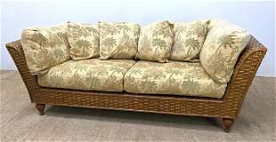 EXCURSIONS Woven Rattan Tropics Inspired Sofa Couch. Wa