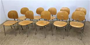 Set 10 Modernist Stacking Wood Office Chairs. Chrome Tu