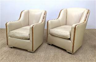 Pair French Art Deco Lounge Chairs. Wood Trim. Leather