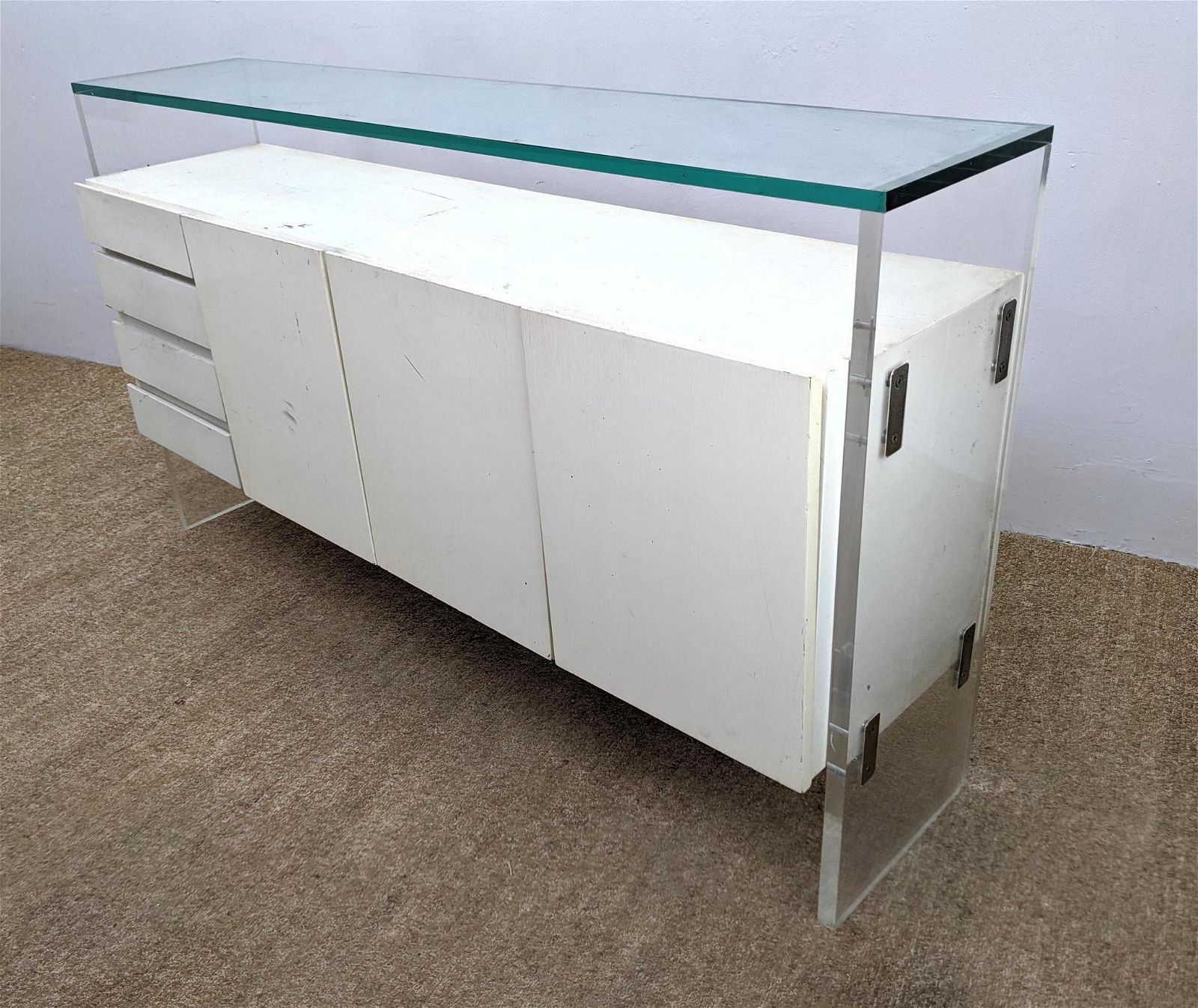 Milo Baughman White Lacquer Sideboard Credenza with Luc