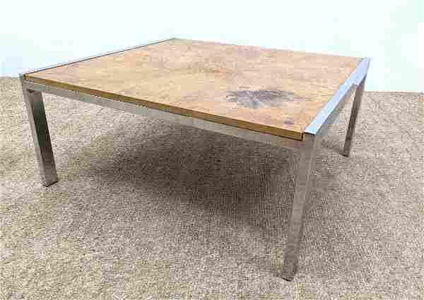 Baughman Style Burl Wood Coffee Cocktail Table. Chrome