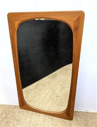 Danish Modern FAKSE Teak Framed Wall Mirror. Marked