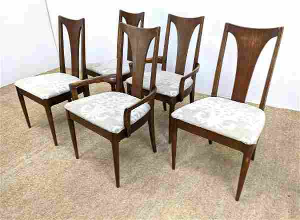 Set 5 Tall Sculptural Back Dining Chairs. Two Arm and 3