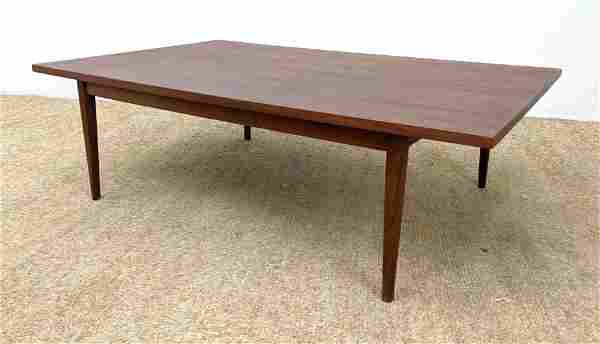 American Modern Walnut Coffee Cocktail Table. Tapered L