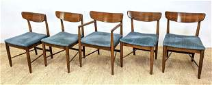 Set 5 Modern Dining Chairs. Blue fabric seats. One arm