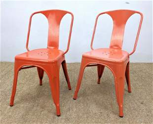 Pr Enamel Coated Metal Side Chairs. Coral Color.