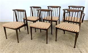 Set 6 Modernist Dining Chairs. Angled spindle backs. La