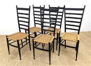 Set 5 Ebonized Ladder Back Dining Chairs. Woven Rush Se